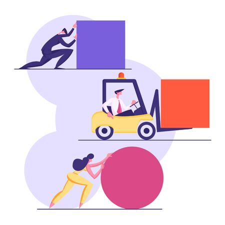 Business People Pushing Huge Geometric Shapes Circle, Square. Men and Woman Fight in Business Competition, Challenge, Leadership Concept with Male Female Characters. Cartoon Flat Vector Illustration Illustration