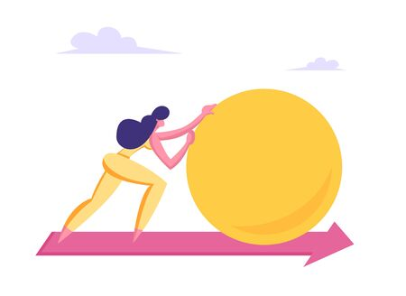 Businesswoman Character Pushing Huge Circle or Ball along Red Arrow on Floor. Woman Leader Goal Achievement, Leadership, Business Competition, Challenge Concept, Cartoon Flat Vector Illustration Vetores