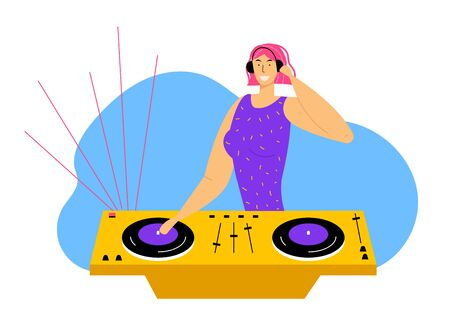 Young Cheerful Dj Girl with Pink Hair and Headphones Remixing Music on Midi Controller at Night Disco Club Party. Multimedia, Nightlife and Entertainment Concept, Cartoon Flat Vector Illustration Vector Illustratie