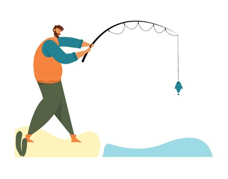 Fisherman Stand with Rod on Coast Having Good Catch. Man Fishing on Calm Lake or River at Summer Day. Relaxing Summertime Hobby, Vacation Spending Time, Leisure, Relax Cartoon Flat Vector Illustration Ilustração