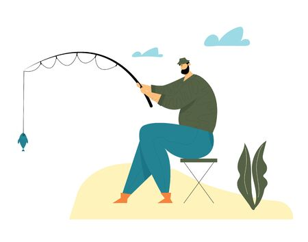 Fisherman Sitting on Chair with Rod on Coast Having Good Catch. Man Fishing on Lake or River at Summer Day. Relaxing Summertime Hobby, Vacation Spending Time, Leisure. Cartoon Flat Vector Illustration Çizim