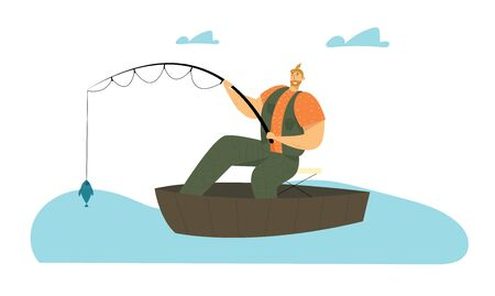 Man Fishing in Boat on Calm Lake or River at Summer Day. Relaxing Summertime Hobby, Fisherman Sitting with Rod Having Good Catch. Vacation Spending Time, Leisure Relax Cartoon Flat Vector Illustration
