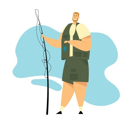 Fisherman Character Holding Rod in Hand Showing Fish he Caught. Fishing, Relaxing Summertime Hobby, Fishman Have Good Catch. Summer Time Leisure, Active Spending Time. Cartoon Flat Vector Illustration