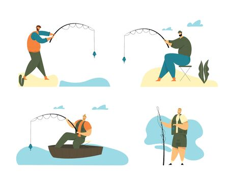 Man Fishing Hobby Set. Fisherman Sitting in Boat and Stand on Coast with Rod Catching Fish, Relaxing Summertime Hobby, Fishman Vacation, Spending Time, Leisure, Relax. Cartoon Flat Vector Illustration