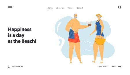 Couple of Senior People on Seaside Website Landing Page, Elderly Characters on Exotic Resort Beach, Leisure, Summer Vacation, Retirement People Relax Web Page. Cartoon Flat Vector Illustration, Banner Illustration