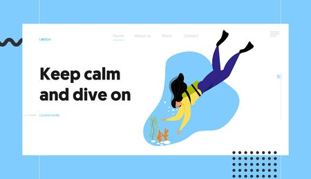 Girl Underwater Diver in Flippers and Mask at Ocean Bottom with Corals, Active Recreation, Vacation Pastime, Leisure Activity. Website Landing Page, Web Page. Cartoon Flat Vector Illustration, Banner