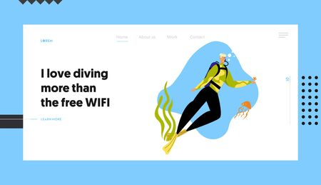 Man Scuba Diver Character in Swimming Suit and Mask Playing with Starfish and Jellyfish Underwater, Snorkeling Diving Profession Website Landing Page, Web Page Cartoon Flat Vector Illustration, Banner