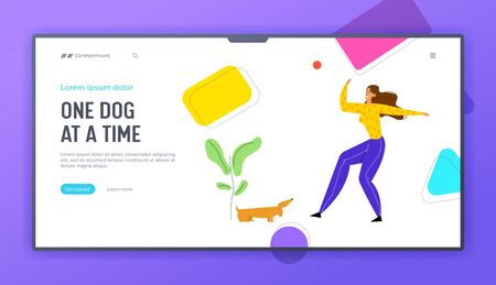 Girl Walking with Dachshund Dog Outdoors, Woman Spend Time Playing with Pet, Relaxing, Leisure, Communicating with Home Animal. Website Landing Page, Web Page. Cartoon Flat Vector Illustration, Banner Stock Illustratie