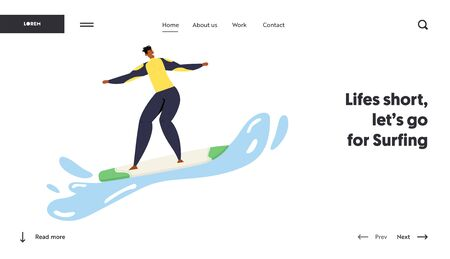 Surfing Man in Swimwear Riding Surf Boards by Ocean Waves. Sportsman in Motion, Sparetime, Summer Sport, Healthy Lifestyle. Website Landing Page, Web Page. Cartoon Flat Vector Illustration, Banner  イラスト・ベクター素材