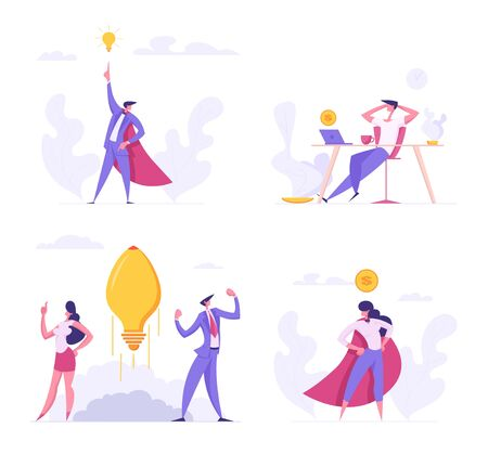Creative Idea, Superhero Managers, Freelance Distant Work Concept. Successful Start Up with Business People Characters Launches Rocket Light Bulb, Teamwork, E-commerce Cartoon Flat Vector Illustration Vectores