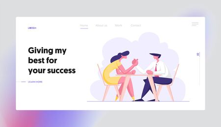Business People Armwrestling. Man and Woman Fighting on Hands Sitting at Table. Business Competition, Challenge, Leadership Website Landing Page, Web Page. Cartoon Flat Vector Illustration, Banner Иллюстрация