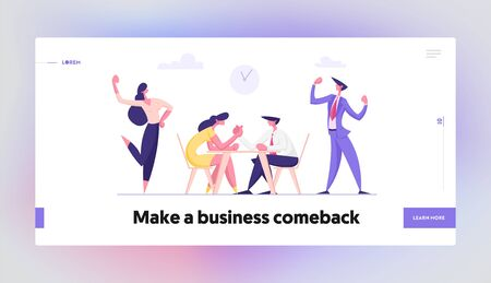 Business People Armwrestling with Support Group Cheering. Man and Woman Fighting. Business Competition, Challenge, Leadership Website Landing Page, Web Page. Cartoon Flat Vector Illustration, Banner Illustration