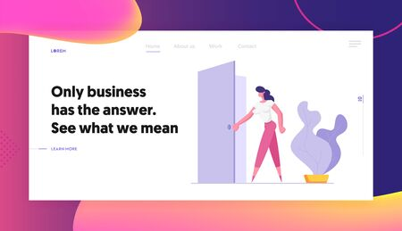Business Woman Stand at Door Entrance Looking Inside, Businesswoman Choosing New Opportunity, Path, Success and Career Growth, Website Landing Page, Web Page. Cartoon Flat Vector Illustration, Banner