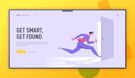 Business Man in Formal Suit Running into Open Door Entrance or Run Out of Exit, Businessman New Opportunity, Escape, Challenge, Website Landing Page, Web Page. Cartoon Flat Vector Illustration, Banner