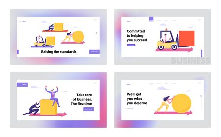 Business People Pushing Huge Geometric Shapes Circle, Square Fight in Business Competition, Challenge, Leadership Concept Website Landing Page Set, Web Page. Cartoon Flat Vector Illustration, Banner