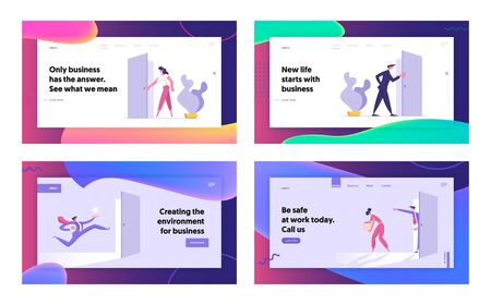 Business People Office Lifestyle Website Landing Page Set, Characters Stand at Doors Entrance, New Opportunity, Success, Career Growth, Dismissal, Web Page. Cartoon Flat Vector Illustration, Banner