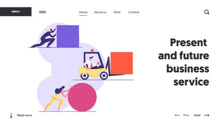 Business People Pushing Huge Geometric Shapes Circle, Square. Men and Woman Fight in Business Competition Challenge, Leadership Website Landing Page, Web Page. Cartoon Flat Vector Illustration, Banner