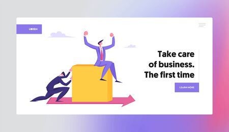 Business Man Pushing Huge Cube with Businessman Sitting on Top along Red Arrow on Floor. Competition Challenge, Right Direction Website Landing Page, Web Page. Cartoon Flat Vector Illustration, Banner 向量圖像