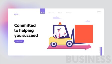 Business Man Character Drive Forklift Loader with Huge Square Figure Riding along Red Arrow on Floor. Challenge, Task Solution, Website Landing Page, Web Page. Cartoon Flat Vector Illustration, Banner