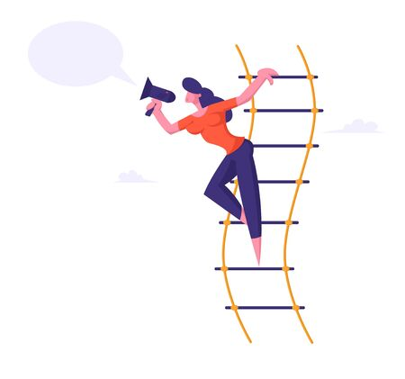Woman Shouting in Loudspeaker or Megaphone Standing on Suspended Ladder, Businesswoman Social Marketing Promotion Announcement, Success Career, Hiring Employee Concept Cartoon Flat Vector Illustration