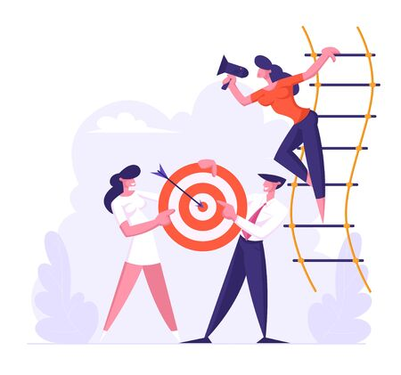 Woman Shouting in Loudspeaker Standing on Suspended Ladder, Businesspeople Team Holding Target with Arrow in Center, Business Goals Achievement, Aim, Business Strategy Cartoon Flat Vector Illustration Illustration