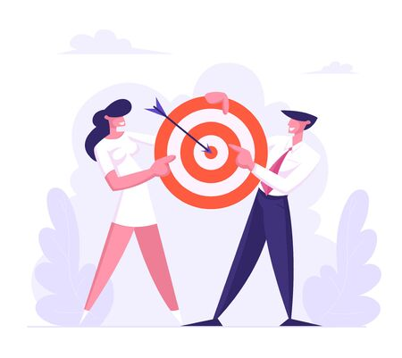 Business Man and Woman Team Holding Target with Arrow in Center, Business Goals Achievement, Aims, Mission, Opportunity and Challenge, Task Solution, Business Strategy Cartoon Flat Vector Illustration