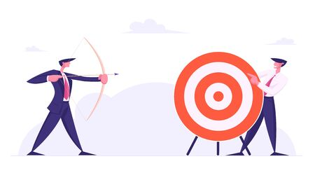 Businessman Aiming Arrow to Target Board which another Business Man Holding. Opportunity and Challenge, Task Solution, Business Strategy Concept. Goals Achievements Cartoon Flat Vector Illustration