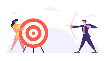 Businessman Direct Arrow to Target. Aim in Business, Aspirational People Mission Achieved. Challenge, Task Solution, Business Strategy Opportunity, Goals Achievement. Cartoon Flat Vector Illustration