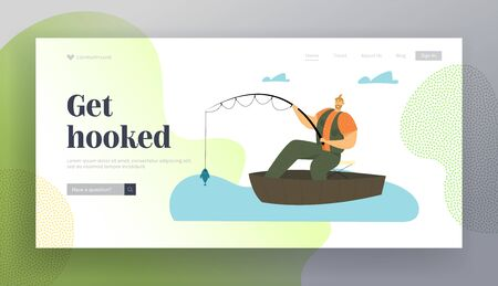 Man Fishing in Boat. Relaxing Summertime Hobby, Fisherman Sitting with Rod Having Good Catch. Vacation Spending Time, Leisure Website Landing Page, Web Page. Cartoon Flat Vector Illustration, Banner