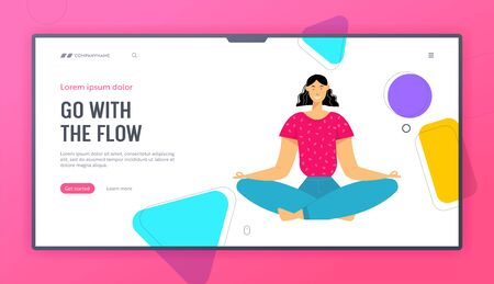 Woman Meditating in Lotus Pose, Outdoors Yoga, Healthy Lifestyle, Relaxation Emotional Balance, Harmony with Nature, Positive Website Landing Page, Web Page. Cartoon Flat Vector Illustration, Banner