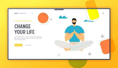 Man Practicing Yoga Meditation Outdoor in Lotus Pose for Less Stress. Healthy Lifestyle, Relaxation Emotional Balance, Fitness, Website Landing Page, Web Page. Cartoon Flat Vector Illustration, Banner