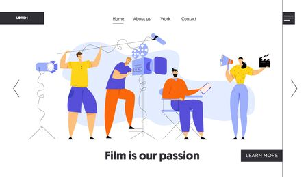 Film Director Controlling Movie Shooting Process, Cameraman, Sound Engineer, Woman with Megaphone and Clapper, Moviemaking Staff Website Landing Page, Web Page. Cartoon Flat Vector Illustration Banner