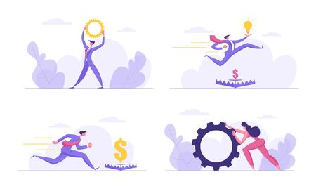 Successful Team Spirit Ambitious, Finance Business Concept Set. People Characters with Gears, Glowing Light Bulbs, Money Goal Trap, Creative Idea, Financial Dangers, Cartoon Flat Vector Illustration Stock Illustratie
