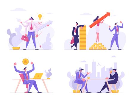 Financial Growth, Business Success Set. People with Arrow, Money, Multitasking Productive Businessman, Board Meeting, Online Work and Creative Cooperation Teamwork, Cartoon Flat Vector Illustration Illustration