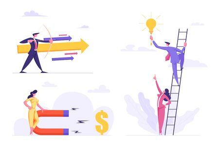 Business Success, Leadership, Goal Achievement Concept Set, Businessman with Arrow, Woman Attracting Money with Magnet, People Climbing Ladder to Reach Creative Idea. Cartoon Flat Vector Illustration Stock Vector - 129762410