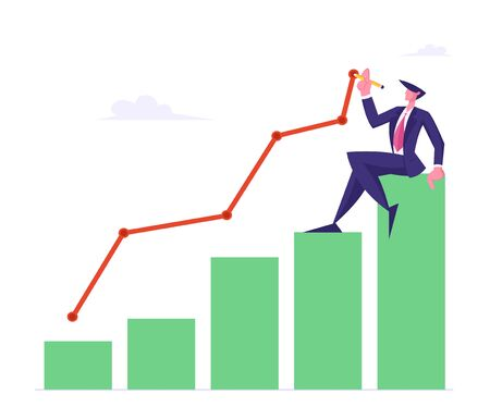 Young Business Man Sitting on Top of Growing Column Chart Drawing Curve Line. Businessman Work on Growth Data Analysis Arrow Graph, Financial Profit Statistic Diagram. Cartoon Flat Vector Illustration