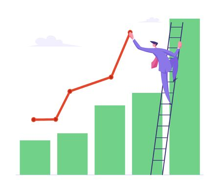 Business Man Stand on Ladder Lean to Column Chart Paint Growing Curve Line. Businessman Work on Growth Data Analysis Arrow Graph, Financial Profit Statistic Diagram. Cartoon Flat Vector Illustration