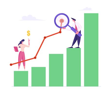 Business Man with Magnifying Glass and Woman Marketing Solution Development. Businesspeople Working on Growth Data Analysis Arrow Graph, Financial Statistic Diagram. Cartoon Flat Vector Illustration