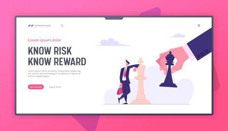 Business Strategy. Strategist Hold Chess Figure Black King Tilting White King Piece. Victory Checkmate or Loss in Business Website Landing Page, Web Page. Cartoon Flat Vector Illustration, Banner Иллюстрация