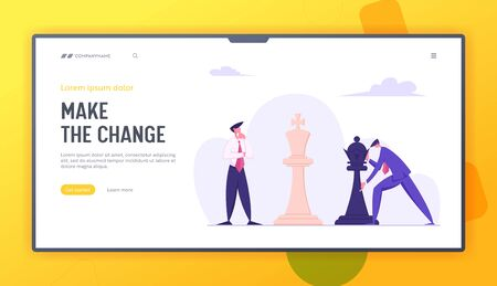 Business Man Making Strategic Chess Move with Black King Piece against White Self Confident Opponent. Tactic and Strategic Game Website Landing Page, Web Page. Cartoon Flat Vector Illustration, Banner