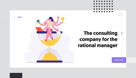 Multitasking Efficient Business Success. Businesswoman with Six Hands Doing Several Actions Sit on Hourglass, Time Management Website Landing Page, Web Page. Cartoon Flat Vector Illustration, Banner