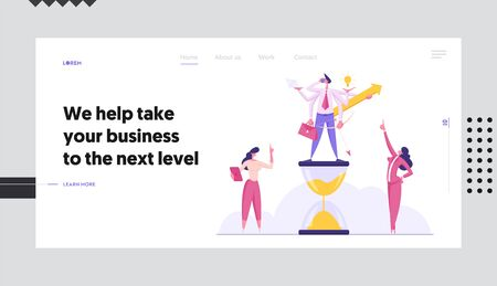 Productive Businessman with Six Hands Doing Several Actions Stand on Hourglass, Time Management Multitasking Efficient Deadline Website Landing Page, Web Page. Cartoon Flat Vector Illustration, Banner