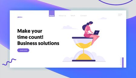 Businesswoman Sitting on Hourglass with Laptop in Hands. Business Process, Time Management, Procrastination, Work Productivity, Website Landing Page, Web Page. Cartoon Flat Vector Illustration, Banner