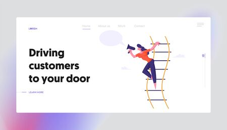 Woman Shouting in Loudspeaker or Megaphone Stand on Suspended Ladder, Social Marketing Announcement, Career, Hiring Employee, Website Landing Page, Web Page. Cartoon Flat Vector Illustration, Banner