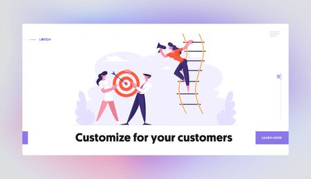 Woman Shouting in Loudspeaker Stand on Suspended Ladder, Businesspeople Team Holding Target with Arrow in Center, Business Goal Website Landing Page, Web Page. Cartoon Flat Vector Illustration, Banner