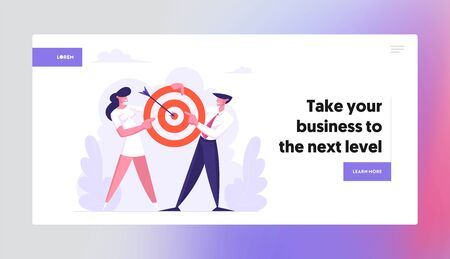Business Man and Woman Team Hold Target with Arrow in Center, Business Goals Achievement, Aim, Mission, Opportunity, Challenge Website Landing Page, Web Page. Cartoon Flat Vector Illustration, Banner 스톡 콘텐츠 - 129762434