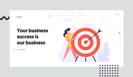 Businesswoman Holding Huge Target with Arrow in Center, Business Goals Achievement, Aims, Challenge, Solution, Business Strategy Website Landing Page, Web Page Cartoon Flat Vector Illustration, Banner