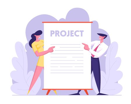 Business Presentation Concept, Male and Female Business People Characters Stand near Huge Blank Placard or Sign. Office Employees Performing Project to Colleagues. Cartoon Flat Vector Illustration Illustration