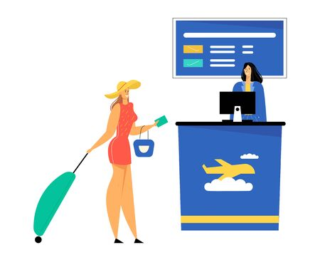 Woman Passenger with Luggage Stand Giving Document and Avia Ticket for Flight Registration to Friendly Staff in Airport, Check in Boarding Departure Information Screen Cartoon Flat Vector Illustration