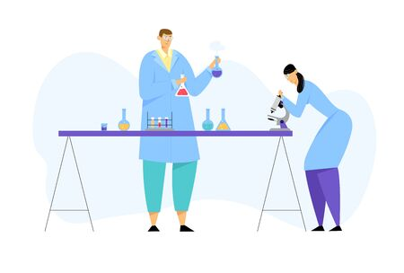 Scientists Conducting Experiment and Scientific Research in Science Laboratory, Man Holding Flasks Woman Technician Look in Microscope. Chemistry Science Staff at Work Cartoon Flat Vector Illustration